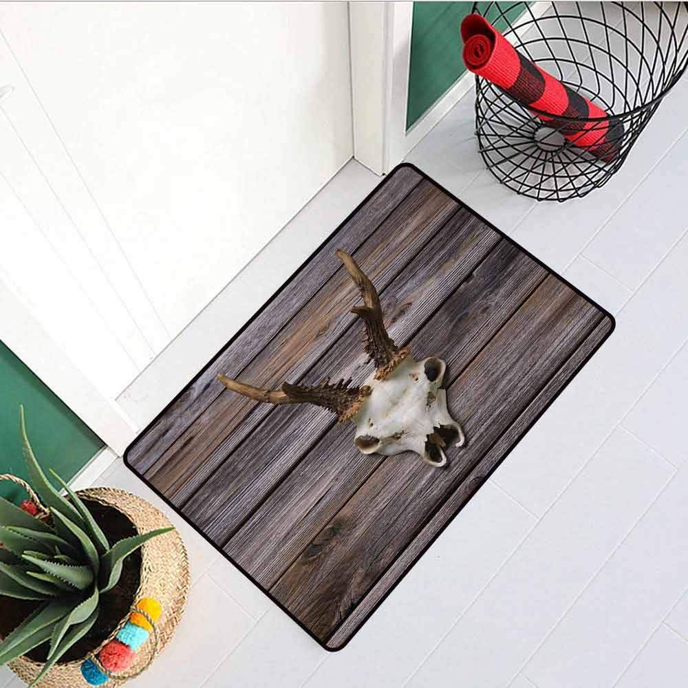 RelaxBear Antlers Front Door mat Carpet Rustic Antler on Wooden Wall Wintertime Mountain Hut Country Style Rustic Design Machine Washable Door mat W19.7 x L31.5 Inch Brown Beige by RelaxBear