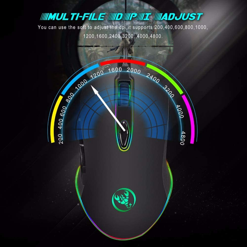 Black RGB Backlit for PC Laptop Desktop Computer Game Yehyep Wired Gaming Mouse,Professional USB Mouse 6 Buttons 200-4800DPI Optical USB Wired Desktop Mice,Fully programmable Keys