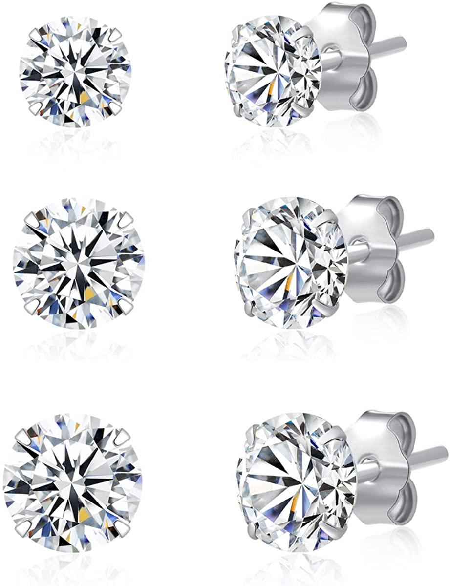 3 Pairs 925 Sterling Silver Cubic Zirconia Stud Earrings Set Men Women