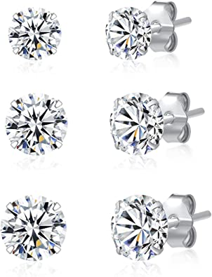 White Cubic Zircon Stud Earrings For Women Fashion 925 Sterling Silver Handmade Mixed Shape Stone Jewelry