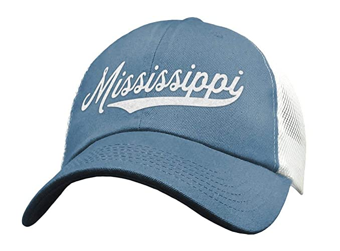 90bbc59412f80 Amazon.com  State of Mississippi Trucker Hat Baseball Cap - Snapback Mesh  Low Profile Unstructured Sports - MI USA  Handmade