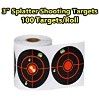 Elysiumstar 100pcs/250pcs 3 inch Shooting Splatter Target Stickers, 7.5cm Adhesive Reactive Targets Stickers, Paper Targets for Archery Bow Hunting Shooting Practice Training