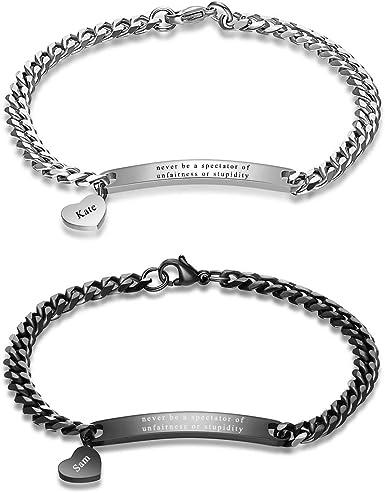 Name Bracelet Couples Bracelet Heart Bracelet Stainless Steel ID Bracelet Personalized Bracelet Engraved Bracelet Custom Bracelet Valentine