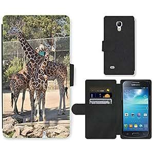 Hot Style Cell Phone Card Slot PU Leather Wallet Case // M00109923 Giraffe Zoo Safari Animal Wildlife // Samsung Galaxy S4 Mini i9190
