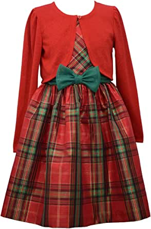Bonnie Jean Christmas Dress - Plaid with Red Cardigan for Baby, Toddler, Little and Big Girls