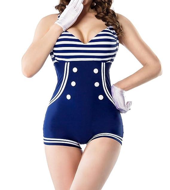 d77b7c86a Retro Vintage Mujer Bañador gepaddet Azul Blanco con adorno de lazo de baño  Mode Marino Look azul/blanco 36: Amazon.es: Ropa y accesorios