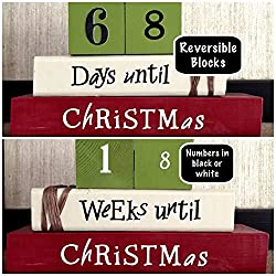 LARGE COUNTDOWN TO CHRISTMAS! Reversible and interactive stacking wood blocks for seasonal and home decor.