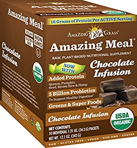 Amazing Grass Amazing Meal, Organic Chocolate Infusion Powder, Gluten Free, 10-Count Box, 11.9oz