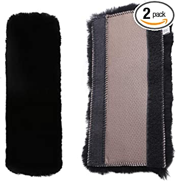 Rmeet Seat Belt Pads,2 Pack Plush Seat Belt Harness Pads Cushion an Cover Shoulder Straps for Adults and Children for Car Seat Belt Backpack Shoulder Bag Grey
