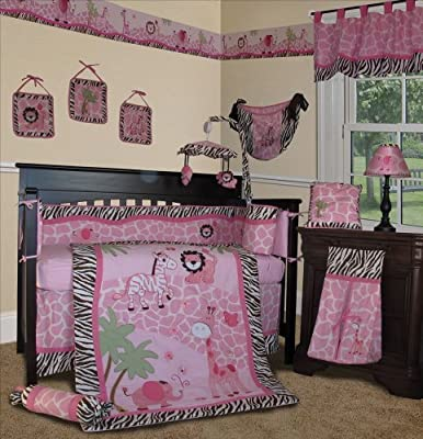 Custom Baby Girl Bedding - Pink Safari 13 Pcs Crib Nursery Bedding Set from Sisi