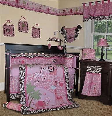 Custom Baby Girl Bedding - Pink Safari 13 Pcs Crib Nursery Bedding Set from Sisi