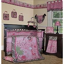 Custom Baby Girl Bedding - Pink Safari 14 PCS Crib Nursery Set Include Music Mobile