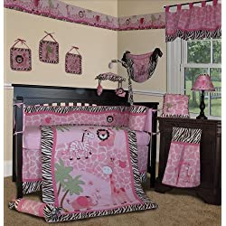 SISI Baby Girl Bedding - Pink Safari 15 PCS Crib Nursery Set