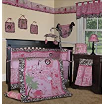 Custom Baby Girl Bedding - Pink Safari 13 PCS Crib Nursery Bedding Set