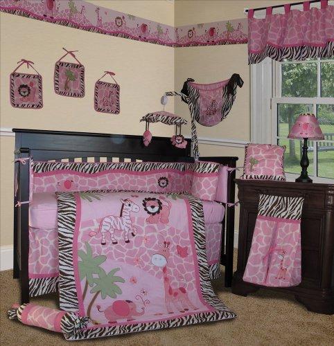 SISI Baby Girl Bedding - Pink Safari 13 PCS Crib Nursery Bedding Set]()