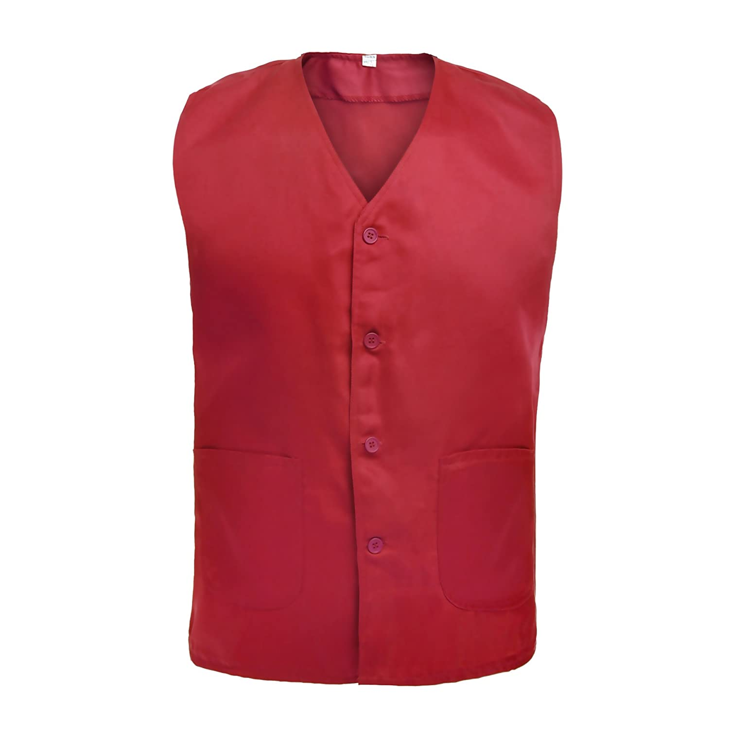 TopTie Vest for Supermarket Clerk Work Uniform Vests with Pockets & Front Button VESX-DK60016
