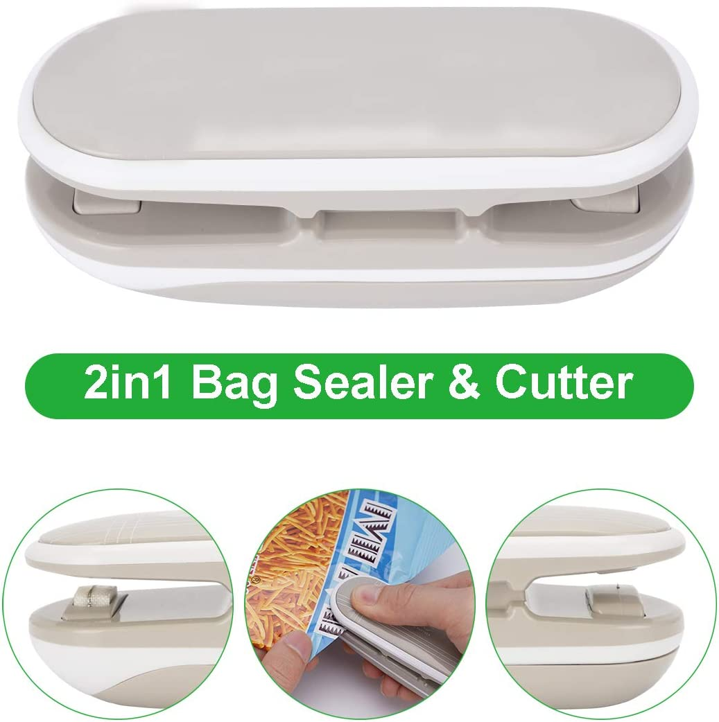 WINCANG Mini Bag Sealer, 2-in-1 Food Bag Heat Sealer & Cutter Handheld For Airtight Food Storage Saver, Mini Portable Sealing Machine For Reseals Potato Chip Snack Bags,plastic Bags (Gray)