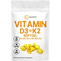 Vitamin D3 5000IU Plus K2, 2 in 1 Formula, Vitamin D3 Liquid with Vitamin K2, 300 Soft-Gels, Immune Vitamin Complex…