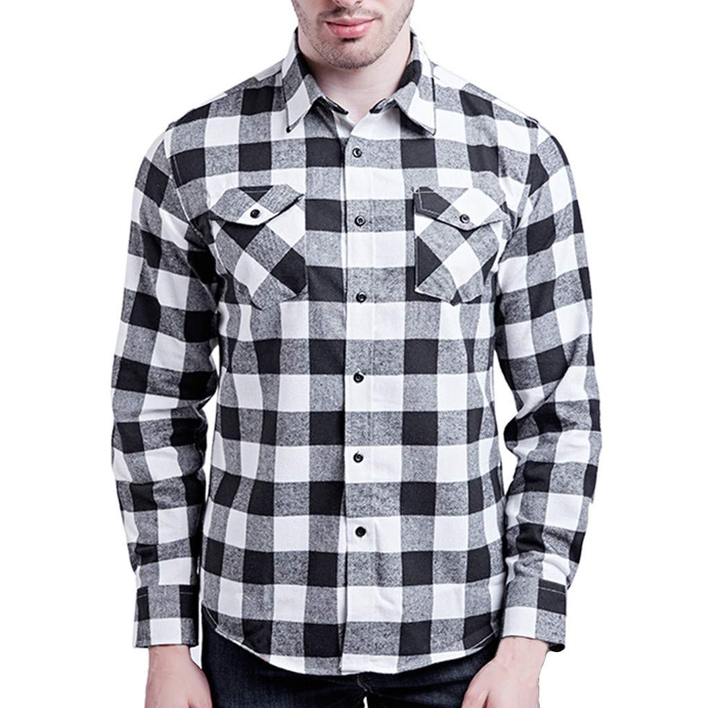 GREFER Men's Slim Fit Long-Sleeve Plaid Shirt with Double Pocket White