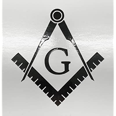 "Masonic Series Freemason Compass Square Decal Sticker | Black Reflective | 2pack | 3"" X 3"" 