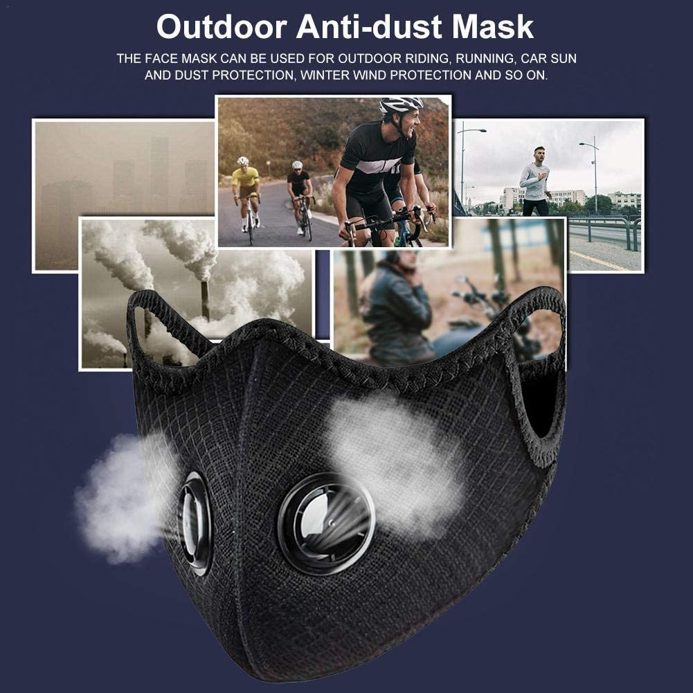 afto mket Reusable Face Cover,Dust Face Shield With Duble Valve,with PVC Memory Resetting Nose Pad Mouth Cover,for Outdoors Anti-Fog Anti-Particles