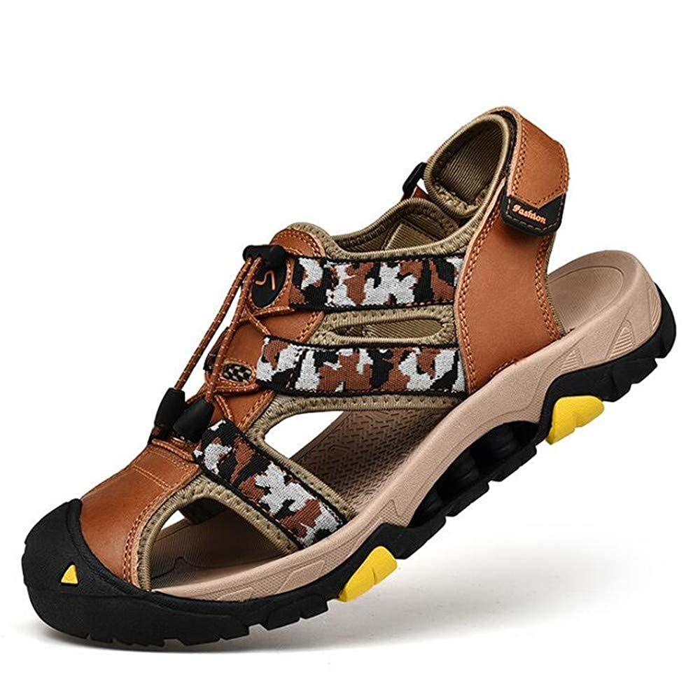 M Brown 45//10.5 D Super color Mens Leather Outdoor Sports Hiking Sandals Trekking Lightweight Athletic Fisherman Beach Shoes