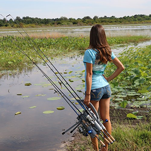 Rod runner pro fishing rod rack gray portable fishing for Fishing caddy bucket