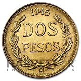 "The Mexican gold 2 peso was issued by Banco de México from 1919-1948. Obverse: Features ""Dos Pesos"" surrounded by a wreath with the date of issue at the top. Reverse: The national coat of arms of Mexico."