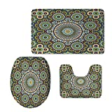 iPrint Fashion 3D Baseball Printed,Arabesque,Ethnic Moroccan Middle Eastern Oriental Traditional Vintage Islamic Mosaic Motif,Multicolor,U-Shaped Toilet Mat+Area Rug+Toilet Lid Covers 3PCS/Set