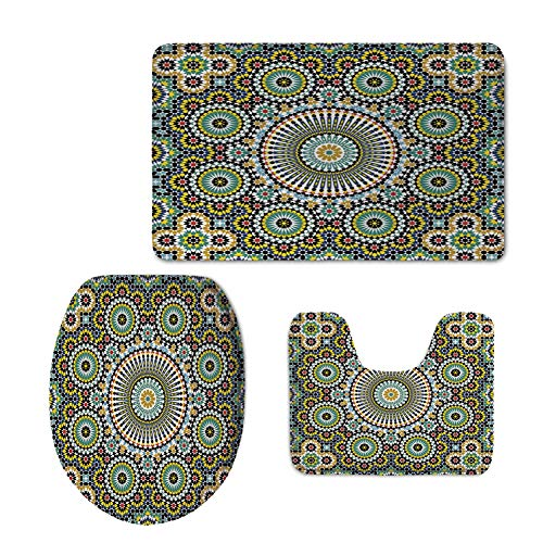 iPrint Fashion 3D Baseball Printed,Arabesque,Ethnic Moroccan Middle Eastern Oriental Traditional Vintage Islamic Mosaic Motif,Multicolor,U-Shaped Toilet Mat+Area Rug+Toilet Lid Covers 3PCS/Set by iPrint
