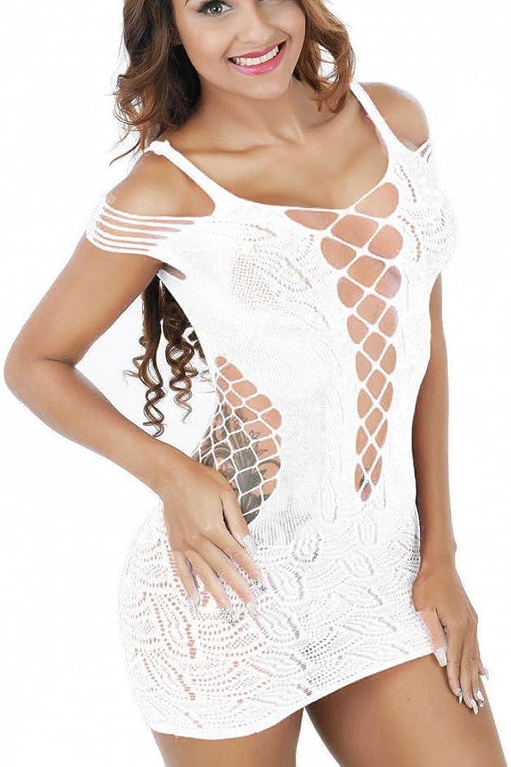 Suppion Womens Mesh Lingerie Fishnet Babydoll Mini Dress Free Size Bodysuit