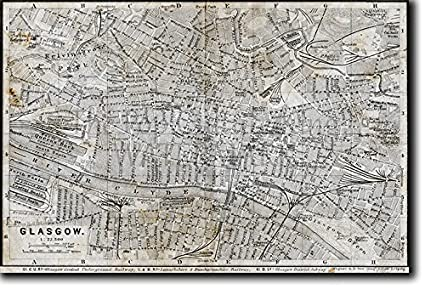 Map Of Uk 1900.Vintage Map Of Glasgow From Pre 1900 Photo Print Poster Unique Gift