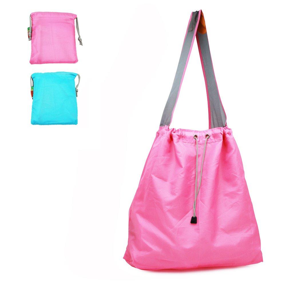 贈り物 特許出願中: Ecojeannie 2パックLarge超強力なリップストップナイロン折りたたみ式再利用可能なショッピングバッグ、旅行バッグ、ビーチバッグ、Grocery Pink-Blue|2 Tote w 15/ポーチ&インナーポケット Handle、draw-string、強化ハンドル 15.5 H X 15 W X 5 Inch D/ 28 Inch Handle ブルー B06XGMVJ26 Pink-Blue Pink-Blue|2, 対馬市:9157c411 --- diesel-motor.pl
