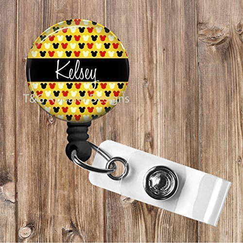 Personalized Mickey Mouse Disney No Twist Retractable Badge Reel Badge Holder Office,Teacher,Nurse by T&G Apparel Designs