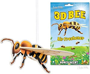 Archie McPhee 3D BEE AIR FRESHENER, Yellow, one Size