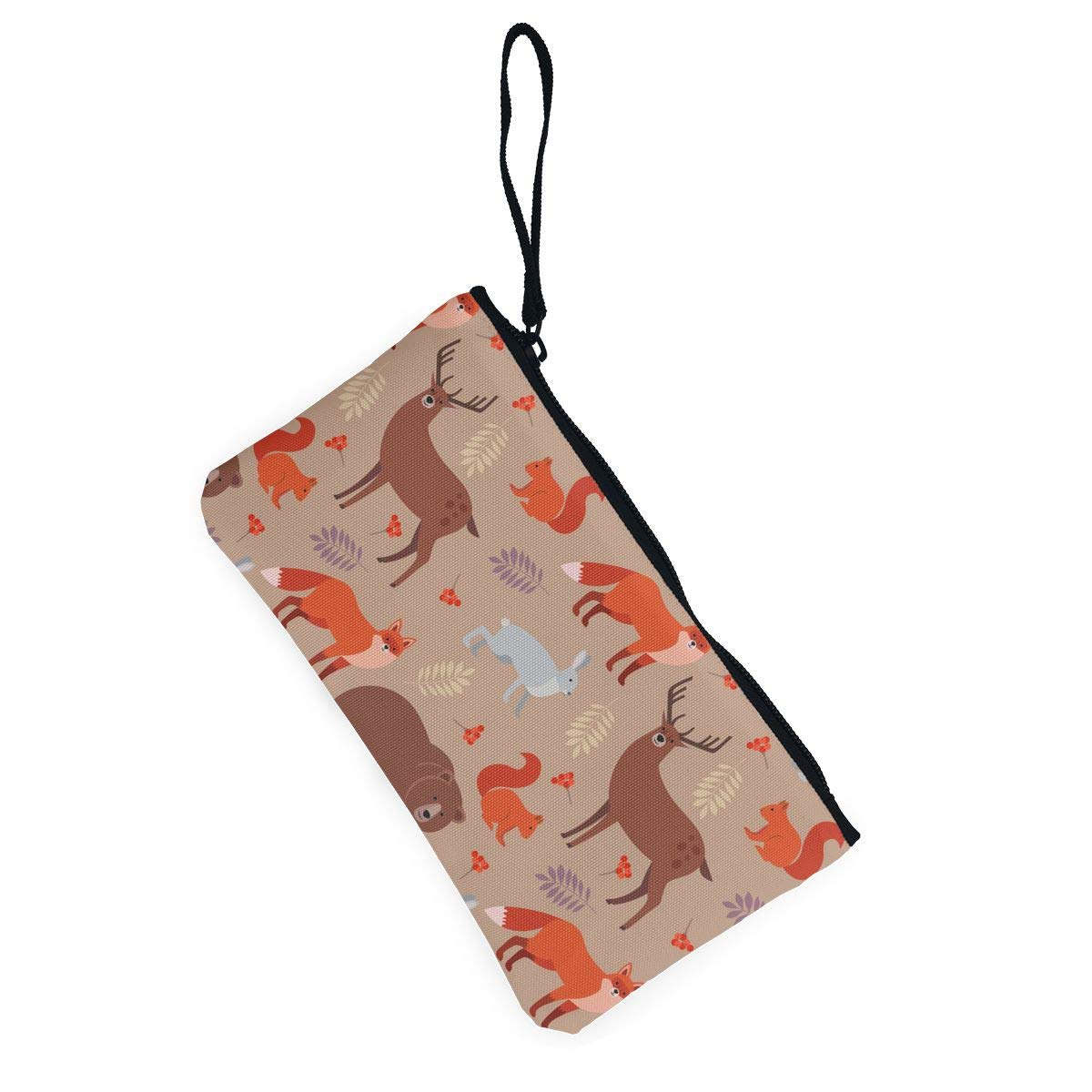 Forest Animals Pattern Canvas Coin Purse Cute Change Pouch Wallet Bag Multifunctional Cellphone Bag with Handle