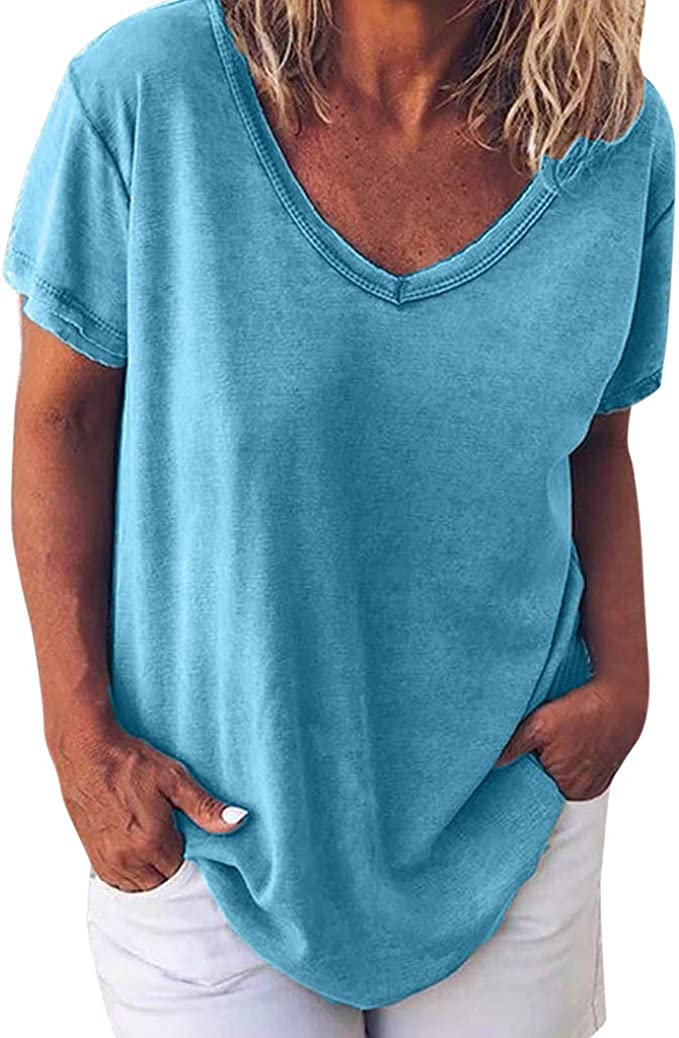Camisetas Mujer Manga Corta, Talla Grande Blusas para Mujer ...