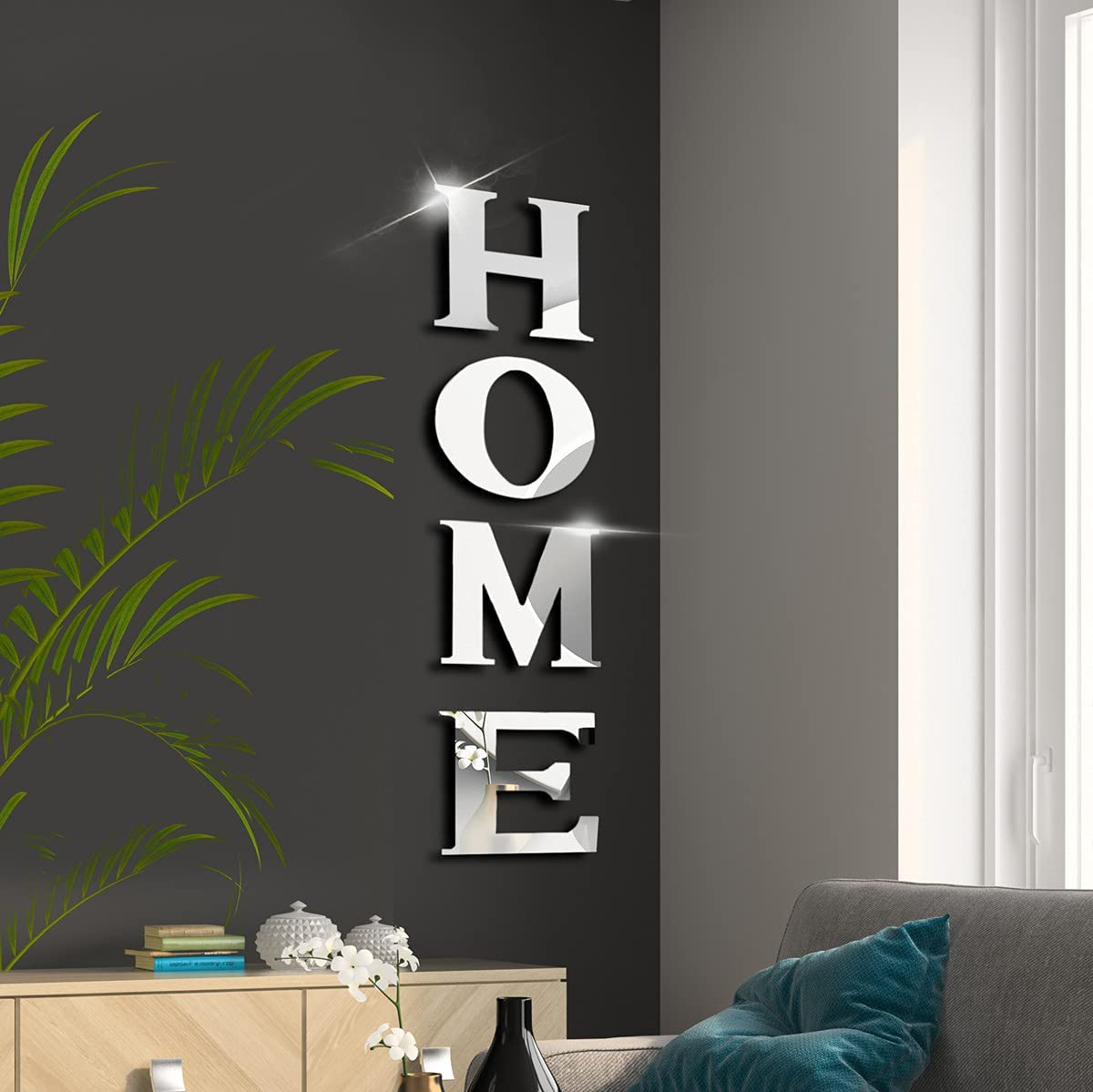 Gusuhome Home Sign Letters Wall Decor for Family Farmhouse Set of 4 Acrylic Decorative Mirror Wall Stickers Wall Decals for Living Room Bedroom Kitchen