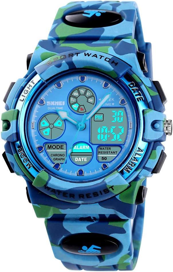 Boys Digital Watch Outdoor Sports 50M Waterproof Electronic Watches Alarm Clock 12/24 H Stopwatch Calendar Boy Girl Wristwatch - Camouflage Blue
