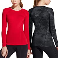 ATHLIO 2 Pack Women's Compression Active Long Sleeve T-Shirts Cool Dry Baselayer