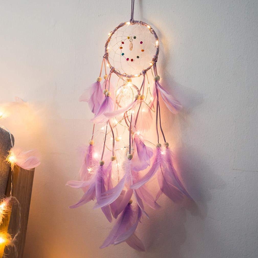 Moonuy Dreamcatcher 2 Meter 20LED Éclairage Fille Chambre Bell Chambre Romantique Décoration Capteur de Rêves Plume Naturel Décoration Mural Voiture pour Fille Garçon Enfant Décoration Maison Chambre (A)