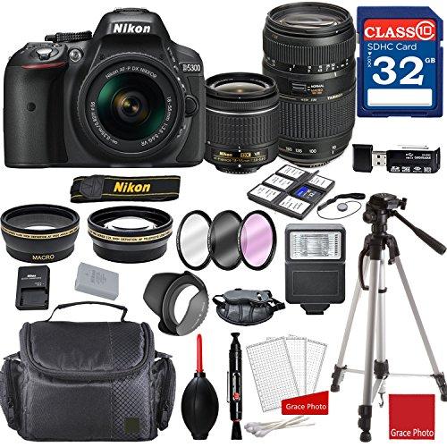 Nikon D5300 DX-format Digital SLR w/AF-P DX NIKKOR 18-55mm f/3.5-5.6G VR Lens & Tamron 70-300mm f/4-5.6 Di LD Macro Autofocus Lens + Professional Accessory - Camera Nikon D5300