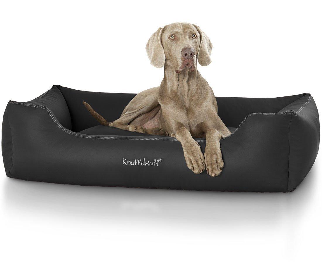 lit pour chien noir M-L 85 x 63cm AMZSIDNEY-4 coussin Knuffelwuff panier chien corbeille pour chien Sidney en cuir