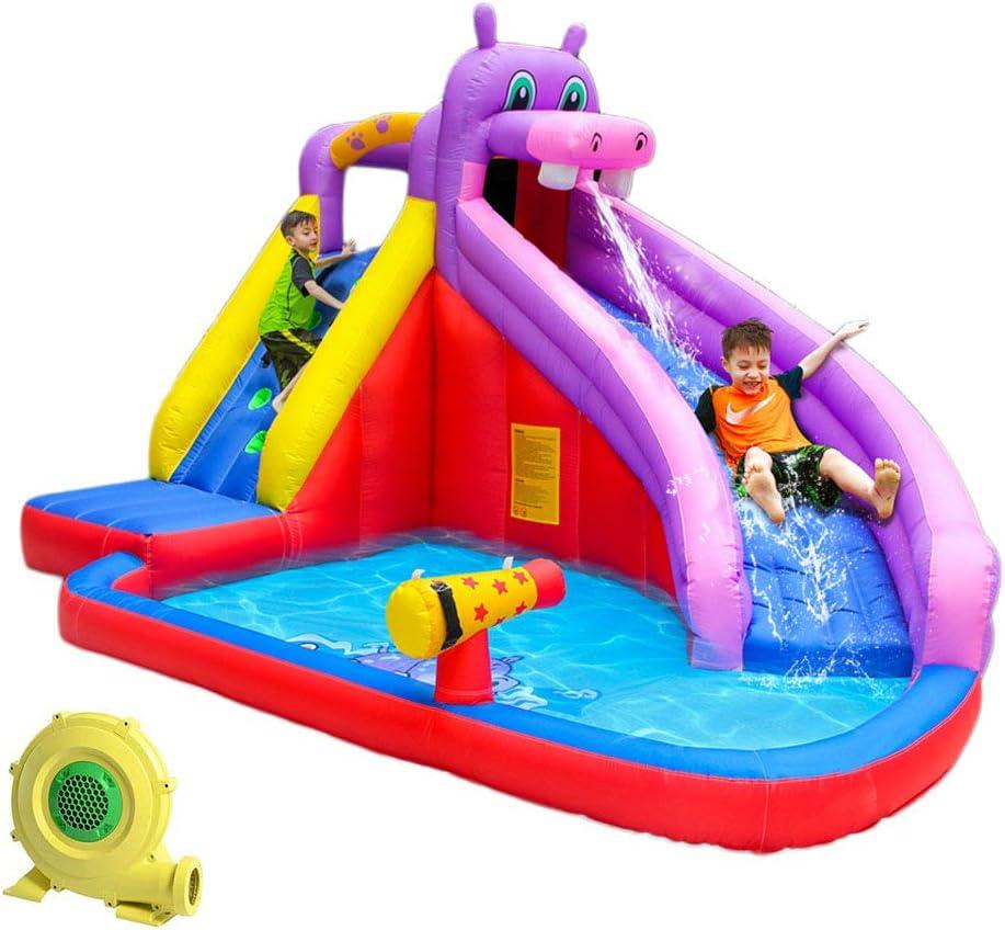 Ti-Fa Centro de Juegos Hinchable con Piscina tobogán acuático Inflable al Aire Libre PVC tobogán de Material con soplador de Aire 279 x 173 x 122 cm: Amazon.es: Deportes y aire libre