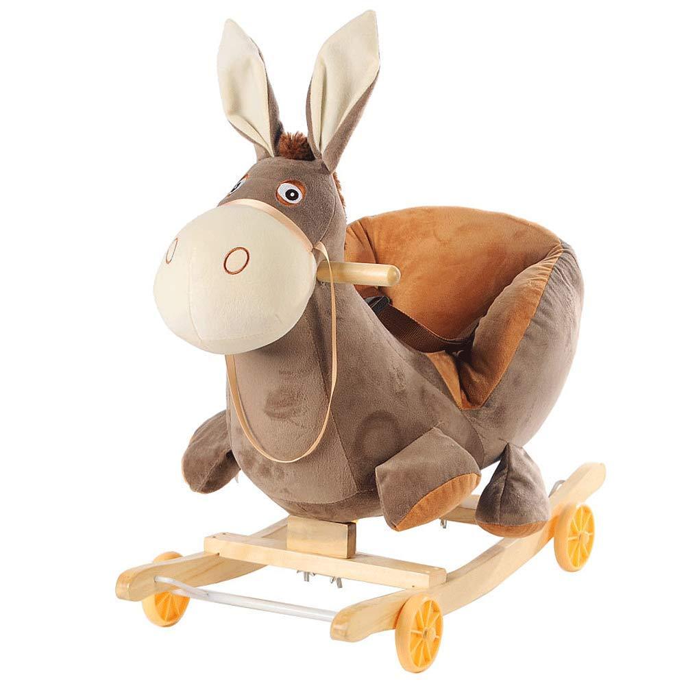 ZFF ロッキングホース 木製 音楽 フラシ天 ロッキングチェア シート付き クリスマス/新年/誕生日のギフトオーナメント 0.5-4歳の赤ちゃん用   B07L4MPRND