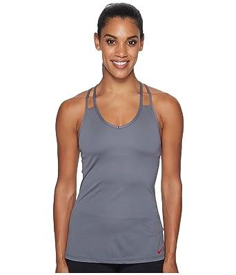 Nike Women's Dri-Fit Slim Support Training Tank Top-Dark Grey - Grey -