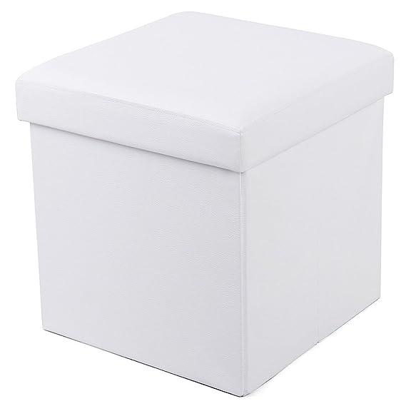 Songmics Sitzhocker Faltbarer Aufbewahrungsbox Belastbar bis 300 kg, weiß,38 x 38 x 38 cm