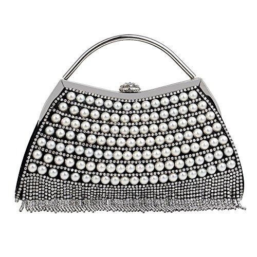 Sac à bandoulière crystal clutch pour femme,Sac de soirée perlée Womens sacs à main-Argent coloré 6x18x24cm(2x7x9inch) Noir