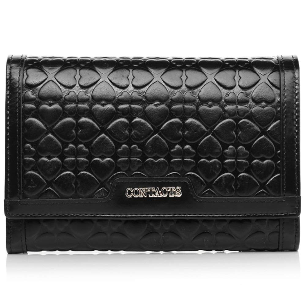 Color : Black, Size : S Shengjuanfeng Womens Wallet Leather Short Wallet Fashion Casual Clutch Embossed Coin Purse