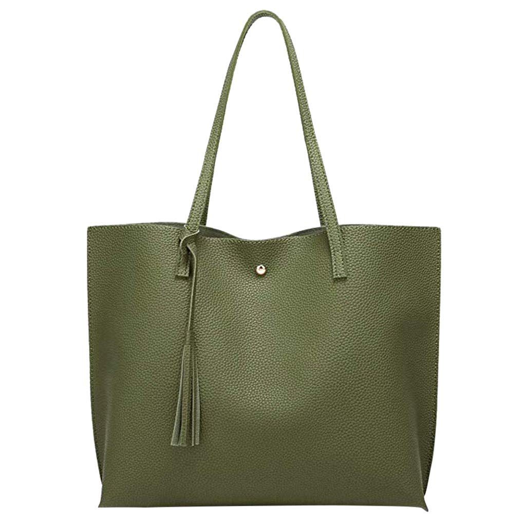 Aubbly Women's Soft Faux Leather Tote Shoulder Bag Big Capacity Tassel Handbag Bags Top Handle Satchel Pu Purse Large Minimalist Fashion Ladies Purses Bag